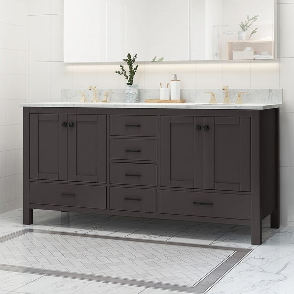 """Laranne Contemporary 72"""" Wood Double Sink Bathroom Vanity with Carrera Marble Top by Christopher Knight Home"""