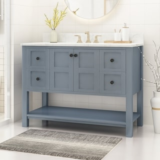 "Jamison Contemporary 48"" Wood Single Sink Bathroom Vanity with Carrera Marble Top by Christopher Knight Home"