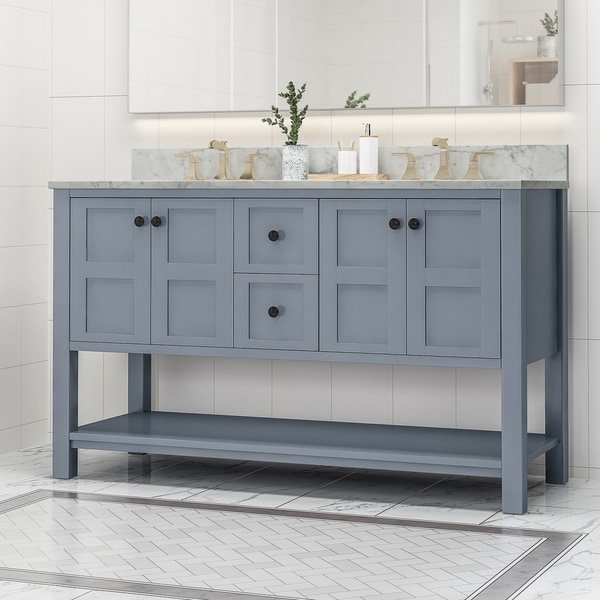 """Jamison Contemporary 60"""" Wood Double Sink Bathroom Vanity with Carrera Marble Top by Christopher Knight Home"""