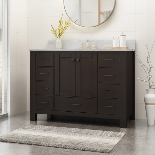 """Laranne Contemporary 48"""" Wood Single Sink Bathroom Vanity with Carrera Marble Top by Christopher Knight Home"""