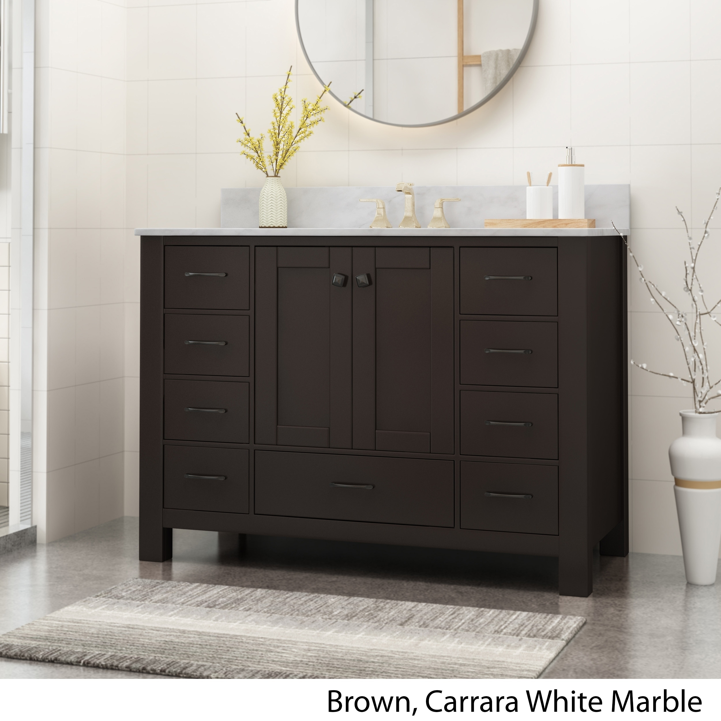 Picture of: Shop Laranne Contemporary 48 Wood Single Sink Bathroom Vanity With Carrera Marble Top By Christopher Knight Home On Sale Overstock 25716197