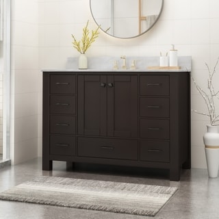 "Laranne Contemporary 48"" Wood Single Sink Bathroom Vanity with Carrera Marble Top by Christopher Knight Home"