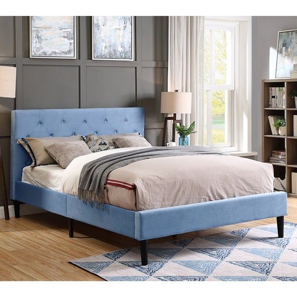 Furniture of America Milton Microfiber Button Tufted Queen Platform Bed