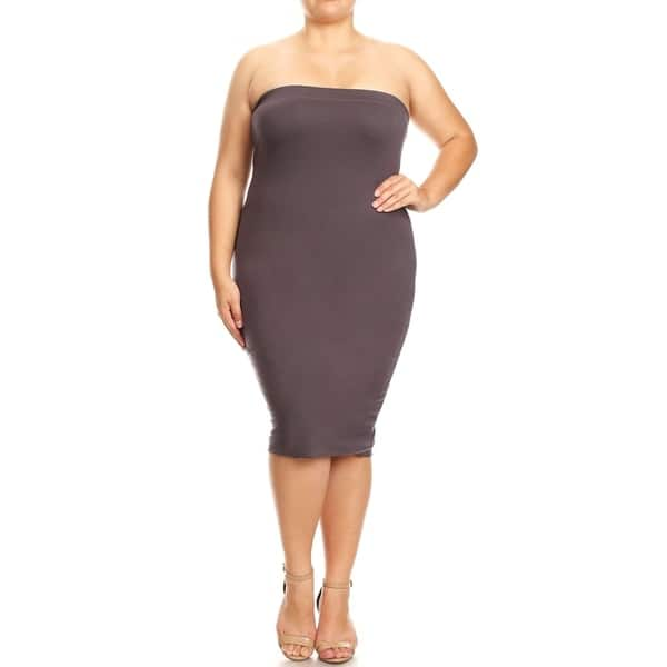 Women\'s Solid Plus Size Strapless Bodycon Mid-Length Tube Dress
