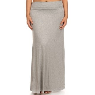 Women's Casual Solid Flared High Waist Plus Size Maxi Skirt