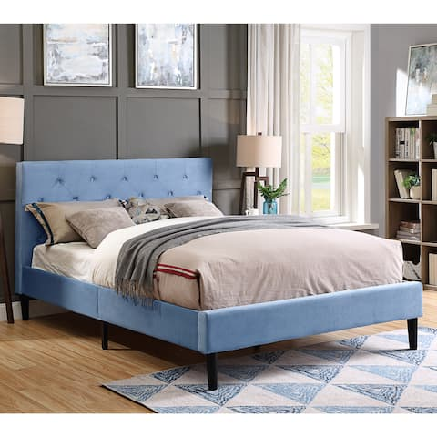Furniture of America Milton Microfiber Button Tufted Platform Bed
