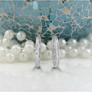 Auriya 1/5ctw Ultra-Petite Baguette Diamond Hoop Earrings 10K Gold - 0.85-inch