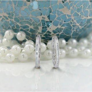 Auriya 1/5ctw Petite Baguette Huggie Hoop Diamond Earrings 10K Gold