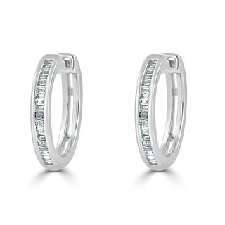 Auriya 1/4ctw Petite Baguette Huggie Hoop Diamond Earrings 10K Gold