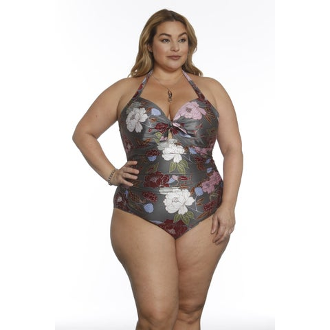 Betty's Beach Bungalow Halter One Piece with Front Tie Detail - Curvy