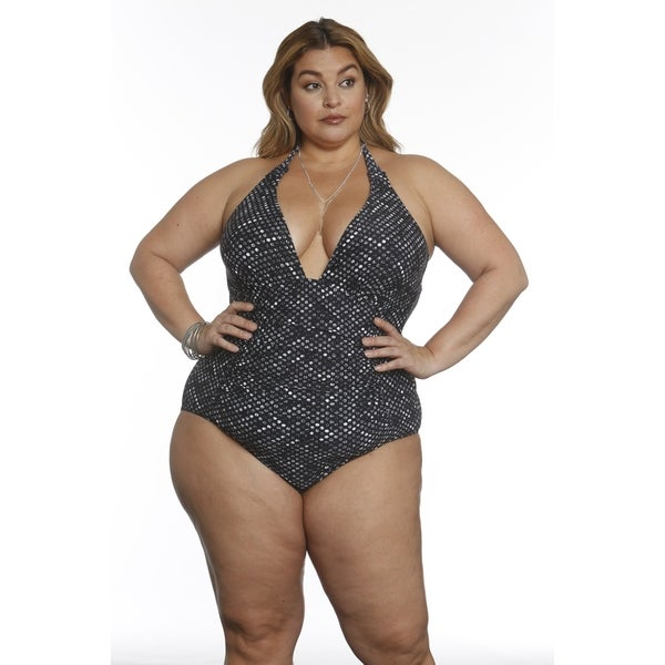 Betty's Beach Bungalow Front Middle Shirring Halter One Piece - Curvy