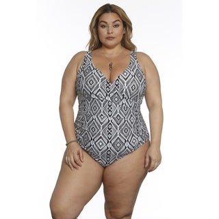 Betty's Beach Bungalow Front Cross Over One Piece - Curvy