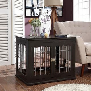 Unipaws Pet Crate End Table, Wooden Wire Dog Kennels with Pet Bed