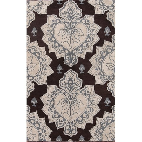 "Oushak Agra Classical Hand Made Floral Area Rug Indian Oriental Brown - 5'1"" x 7'9"""