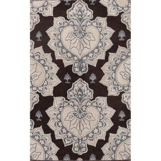 """Oushak Agra Classical Hand Made Floral Area Rug Indian Oriental Brown - 5'1"""" x 7'9"""""""