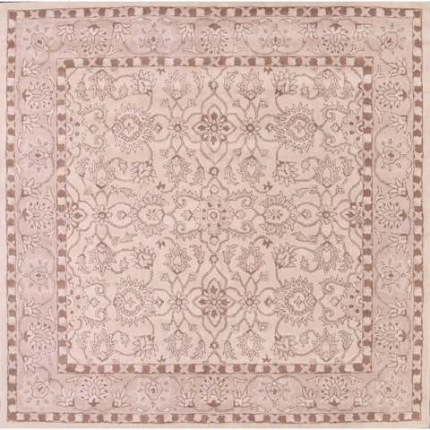 "Hand Tufted Traditional Oushak Kashan Floral Oriental Area Rug - 10'0"" x 9'9"" square"