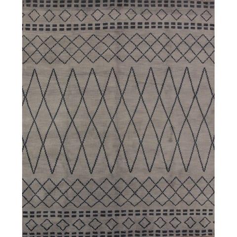 "Modern Oriental Moroccan Area Rug Handmade Wool - 9'10"" x 8'3"""