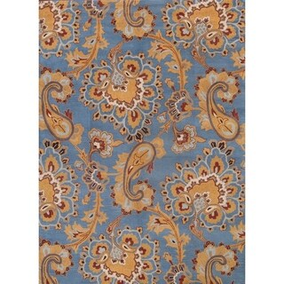 """Hand Made Agra Classical Traditional Oriental Paisley Area Rug Blue - 8'0"""" x 11'0"""""""