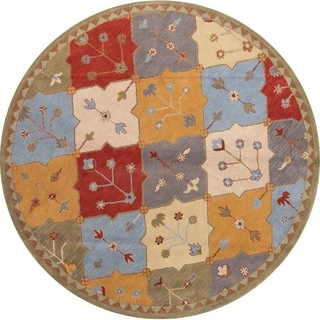 "Oushak Agra Handmade Oriental Floral Area Rug - 10'0"" round"