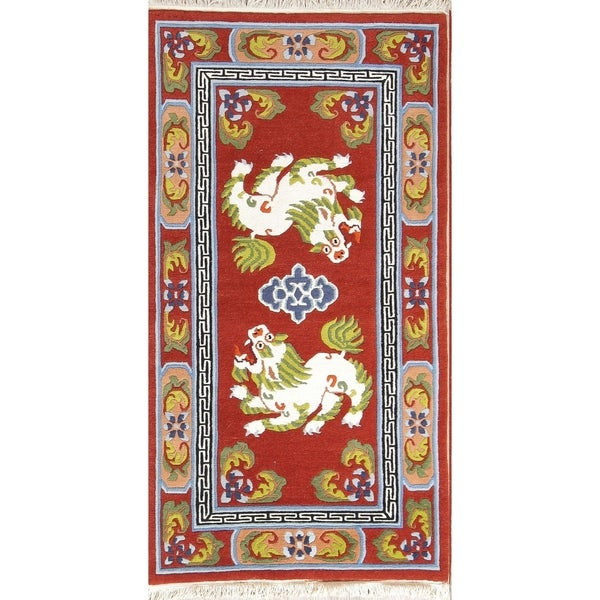 "Art Deco Hand Made Classical Chinese Oriental Wool Area Rug Red - 5'10"" x 3'"