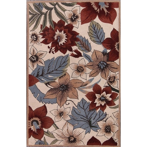 """Hand-Tufted Floral Agra Classical Oriental Transitional Area Rug - 8'1"""" x 5'3"""""""