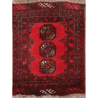 "Balouch Afghan Traditional Hand Made Oriental Geometric Area Rug - 2'3"" x 1'9"" square"