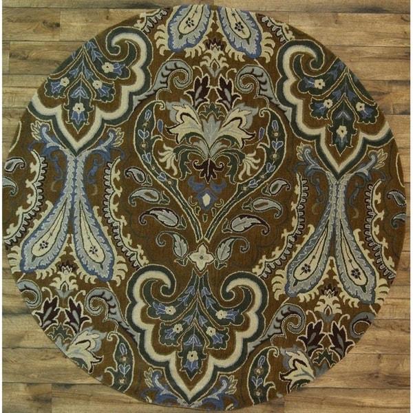 "Paisley Kashan Hand Made Woolen Oushak Oriental Rug - 8'2"" round"