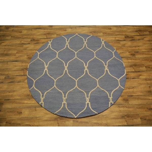 """Traditional Hand Made Moroccan Trellis Oriental Area Rug - 8' x 7'11"""" round"""
