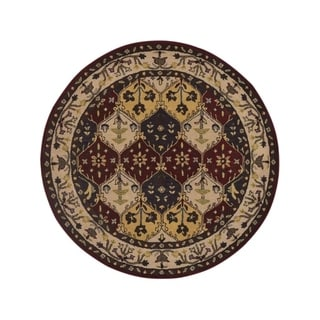 """Copper Grove Bronderslev Hand-tufted Wool Oriental Floral Area Rug Red - 5'9"""" round"""