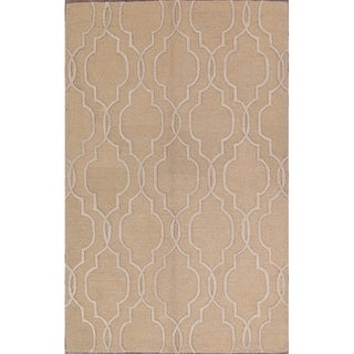 "Moroccan Classical Trellis Hand Made Area Rug Oriental Beige - 8'0"" x 5'0"""