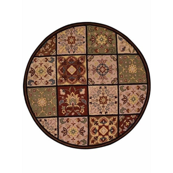 """Porch & Den Wake Hand-made Foral Wool Oushak Oriental Area Rug - 10'0"""" round"""