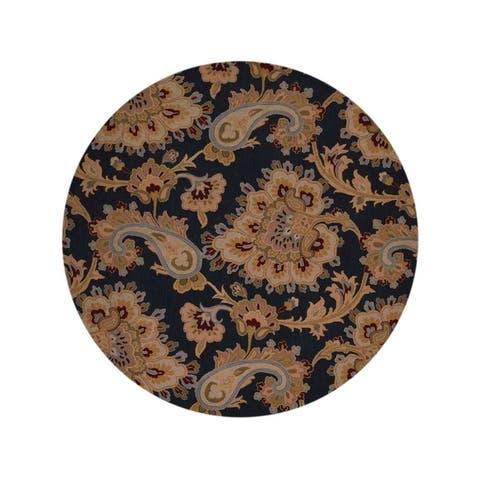 "Copper Grove Kokkina Agra Indian Oriental Handmade Area Rug Floral Carpet - 10'0"" round - 10'0"" round"
