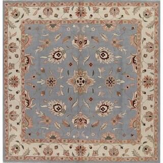 Handmade Wool Floral Border Oushak Agra Oriental Area Rug