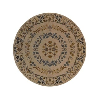 """Copper Grove Nibe Handmade Wool Oriental Floral Area Rug - 8'2"""" round"""