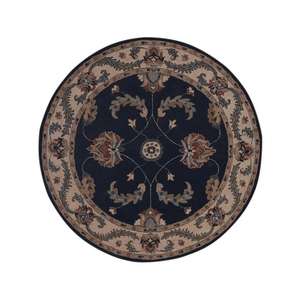 """Gracewood Hollow Piankhi Hand-tufted Floral Wool Round Rug - 8'0"""" round"""