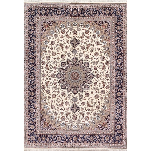 """Vintage Isfahan Hand Knotted Vintage Persian Floral Area Rug - 13'10"""" x 10'0"""""""