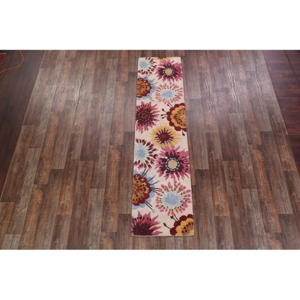 "The Curated Nomad Egilsstadir Floral Hand-knotted Runner Rug - 9'10"" x 2'6"" runner"