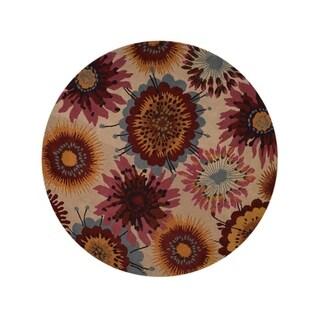"""Porch & Den Walden Hand-tufted Floral Wool Oushak Oriental Area Rug - 10'0"""" round"""