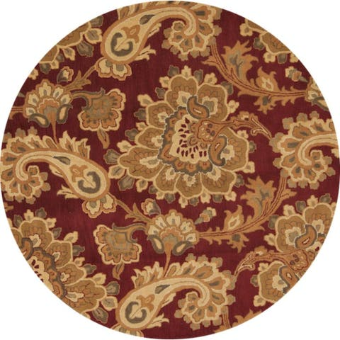 """Copper Grove Polis Floral Hand Tufted Woolen Agra Indian Oriental Paisley Area Rug - 10'0"""" round - 10'0"""" round"""