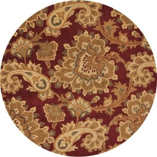 """Copper Grove Polis Floral Hand Tufted Woolen Agra Indian Oriental Paisley Area Rug - 10'0"""" round"""