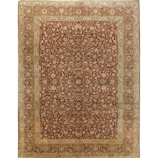"Traditional Hand Made Kashan Persian Oriental Floral Area Rug - 13'2"" x 10'"