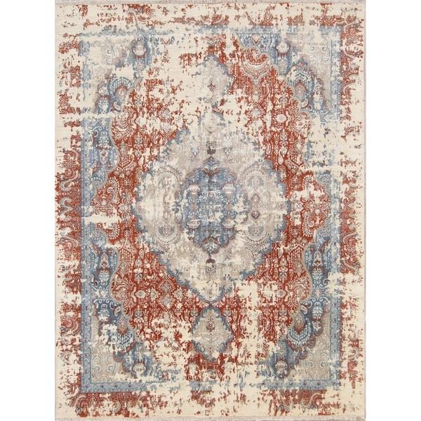 "Heriz Oriental Handmade Wool and Silk Oriental Area Rug - 10'8"" x 8'1"""