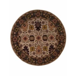 "Copper Grove Aarup Beige Oushak Handmade Oriental Floral Area Rug - 10'0"" round"