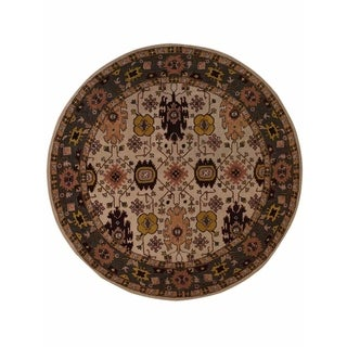 "Copper Grove Aarup Beige Oushak Handmade Oriental Floral Area Rug - 10'0"" round"