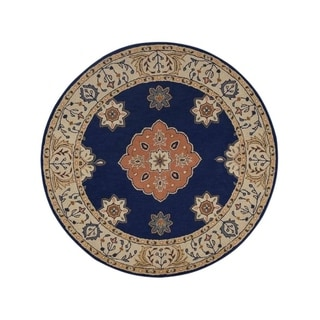 """Copper Grove Skive Hand-tufted Indian Oriental Wool Rug Geometric - 8'2"""" round"""