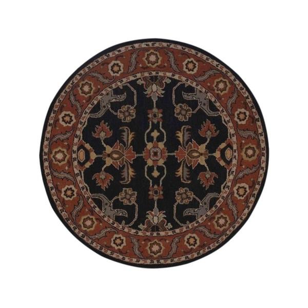 "Copper Grove Toftlund Oushak Indian Oriental Genuine Wool Floral Area Rug - 8'2"" round"