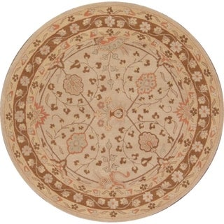 """Copper Grove Glamsbjerg Oushak Floral Indian Oriental Rug - 7'11"""" round"""