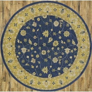 """Traditional Hand Made Wool Oushak Oriental Floral Rug - 7'9"""" Round"""