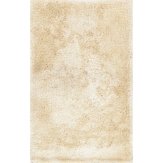 "Modern Shaggy Oriental Solid Area Rug Hand Tufted Beige - 8'0"" x 5'2"""