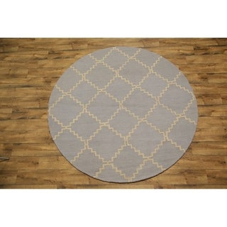Moroccan Trellis Hand Tufted Wool Oriental Modern Area Rug - 8' Round
